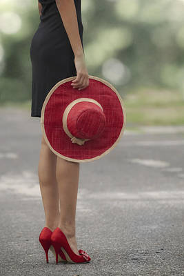 Red Sun Hat Print by Joana Kruse