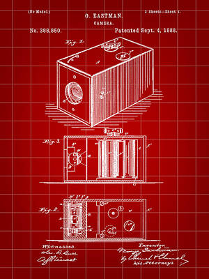 Cartridge Digital Art - Roll Film Camera Patent 1888 - Red by Stephen Younts