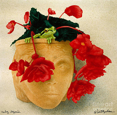 Begonia Garden Painting - Ruby Begonia by Will Bullas