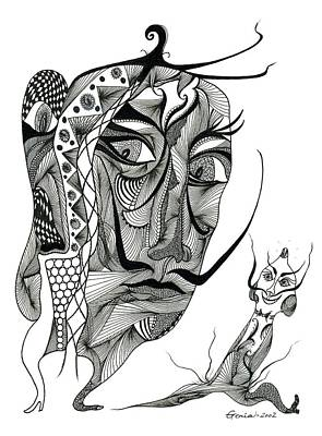 Salvador Dali With His Alter-ego Print by Genia GgXpress