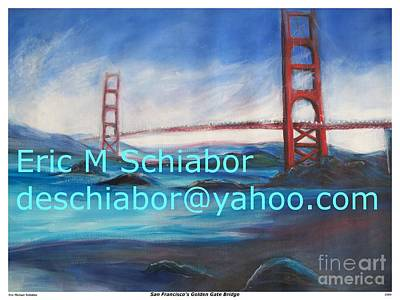 Abstract Seascape Drawing - San Francisco Golden Gate Bridge by Eric  Schiabor