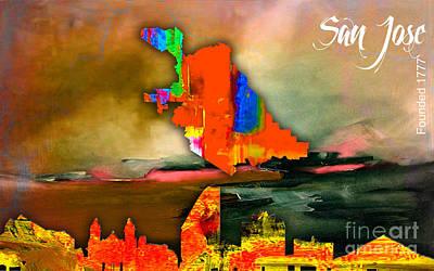California Mixed Media - San Jose Map And Skyline by Marvin Blaine