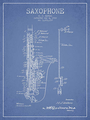 Saxophone Digital Art - Saxophone Patent Drawing From 1928 by Aged Pixel