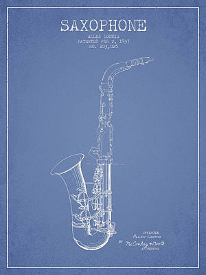 Saxophone Drawing - Saxophone Patent Drawing From 1937 - Light Blue by Aged Pixel