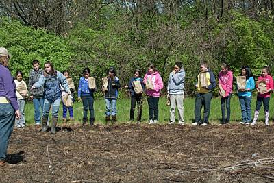 Schoolchildren Sowing Seeds Print by Jim West