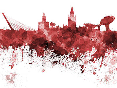 Seville Painting - Seville Skyline In Watercolor On White Background by Pablo Romero