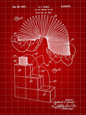 Slinky Patent 1946 - Red Print by Stephen Younts