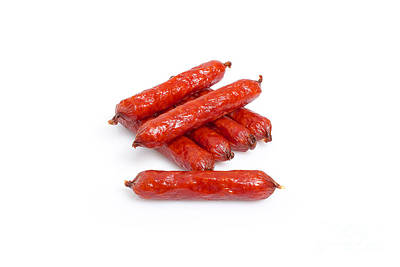 Fat Dog Photograph - Small Smoked Sausages by Aleksey Tugolukov