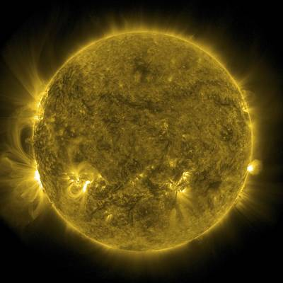 Satellite Image Photograph - Solar Activity, Sdo Ultraviolet Image by Science Photo Library