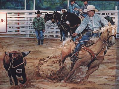 Steer Painting - South Texas Cowboy by Diann Baggett