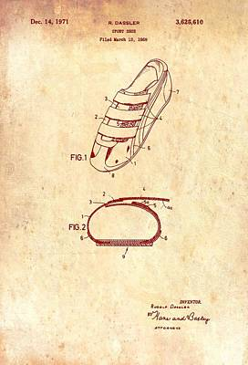 Tennis Drawing - Sport Shoe Patent 1971 by Mountain Dreams