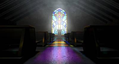 Window Signs Digital Art - Stained Glass Window Church by Allan Swart