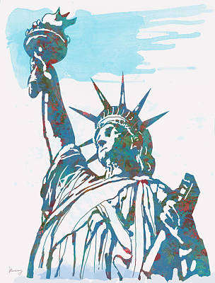 Statue Of Liberty Mixed Media - Statue Liberty - Pop Stylised Art Poster by Kim Wang