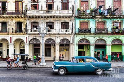 Street Scene With Vintage Car In Havana Cuba Print by Frank Bach