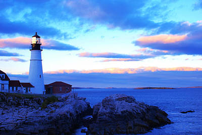 Sunset In Fork Williams Lighthouse Park Portland Maine State Print by Paul Ge