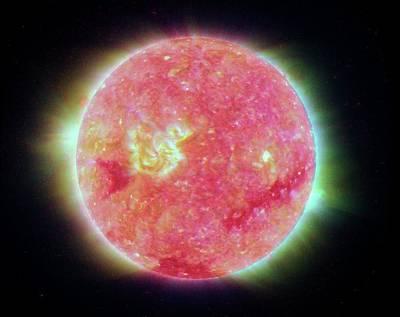 Stellar Photograph - Temperature Of The Sun by Nasa/jpl-caltech/nrl/gsfc