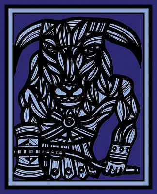 Minotaur Drawing - Perocho Minotaur Blue Black by Eddie Alfaro