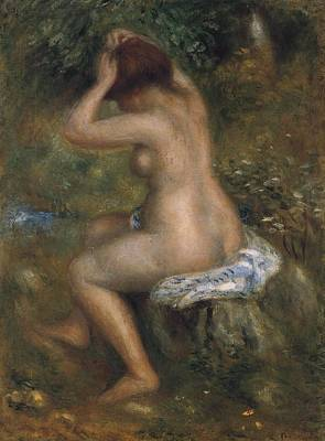 Hair-washing Painting - The Bathers by Pierre-Auguste Renoir