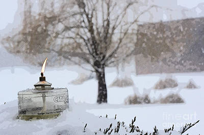 Lantern Photograph - The Candle In The Snow by Celestial Images