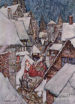 Santa Claus Drawing - 'the Night Before Christmas by Arthur Rackham