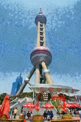 Architecture Painting - The Oriental Pearl Tower by George Atsametakis