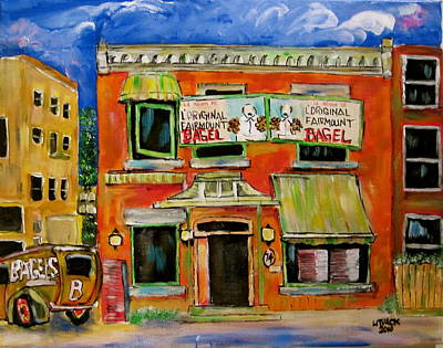 Old Jewish Area Painting - the Other Bagel Factory by Michael Litvack