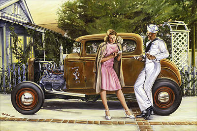 Hot Rod Painting - The Sailor's Girl by Ruben Duran