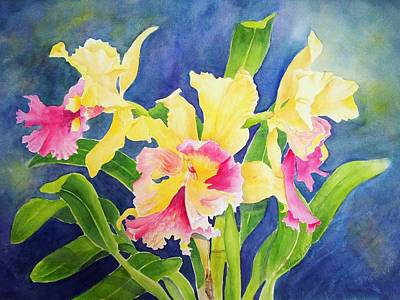 Orchid Art Painting - Three Cattleya's by Kathleen Rutten