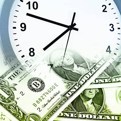 Time Is Money Concept Print by Les Cunliffe