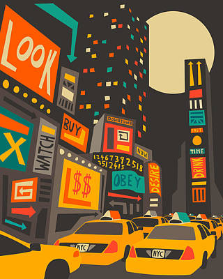 Times Square Digital Art - Time Square by Jazzberry Blue