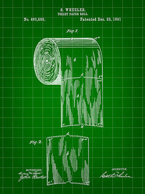 Ply Digital Art - Toilet Paper Roll Patent 1891 - Green by Stephen Younts