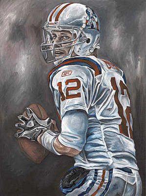 Tom Brady New England Patriots Nfl Quarterback Sports Art David Courson Painting - Tom Brady by David Courson