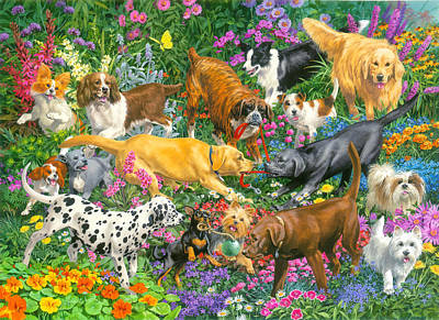 Bed Painting - Playful Dogs by John Francis