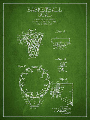 Basketball Digital Art - Vintage Basketball Goal Patent From 1936 by Aged Pixel