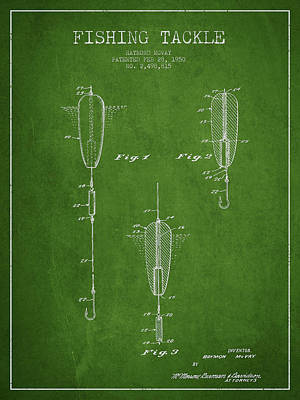 Vintage Fishing Tackle Patent Drawing From 1950 Print by Aged Pixel