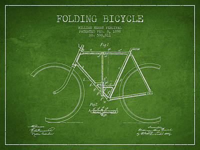 Bicycle Digital Art - Vintage Folding Bicycle Patent From 1898 by Aged Pixel