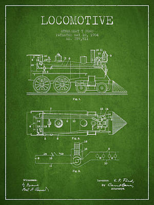 Train Digital Art - Vintage Locomotive Patent From 1904 by Aged Pixel