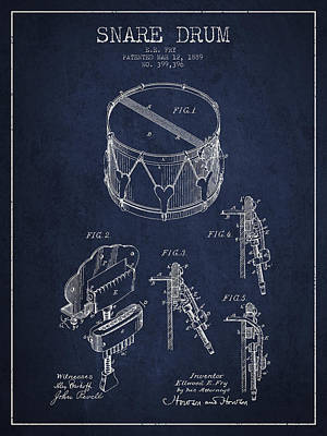 Drum Digital Art - Vintage Snare Drum Patent Drawing From 1889 - Navy Blue by Aged Pixel