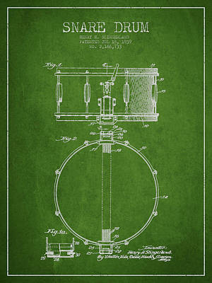 Drum Digital Art - Snare Drum Patent Drawing From 1939 - Green by Aged Pixel
