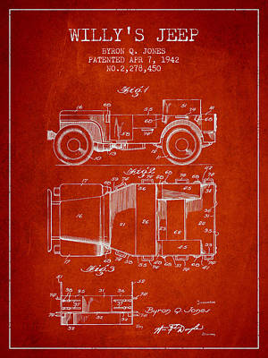Vintage Willys Jeep Patent From 1942 Print by Aged Pixel