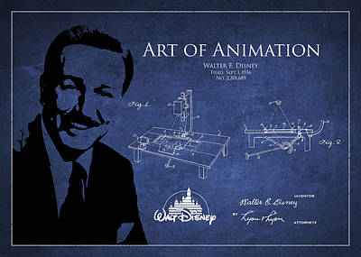 Technical Drawing - Walt Disney Patent From 1936 by Aged Pixel