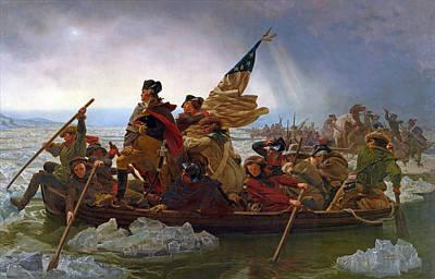 Battle Of Trenton Painting - Washington Crossing The Delaware River by Emanuel Gottlieb Leutze