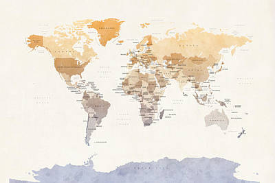 Map Of The World Digital Art - Watercolour Political Map Of The World by Michael Tompsett