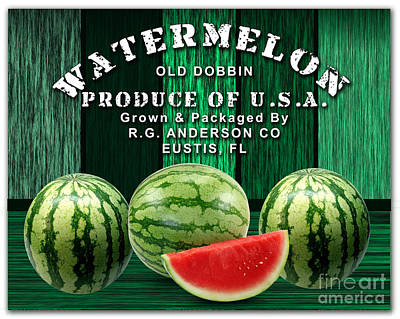 Watermelon Mixed Media - Watermelon Farm by Marvin Blaine