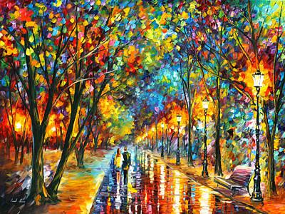 Park Oil Painting - When Dreams Come True by Leonid Afremov