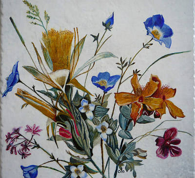 Egg Tempera Painting - Wildflowers by Catherine Meyers