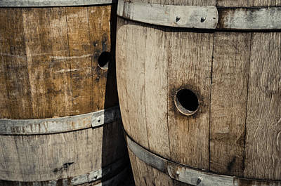 Wine Cellar Photograph - Wine Barrels In A Cellar by Brandon Bourdages
