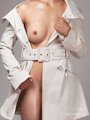 Woman Wearing Trench Coat Over Naked Body Print by Oleksiy Maksymenko