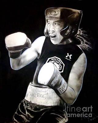 Punching Drawing - Woman's Boxing Champion Filipino American Ana Julaton by Jim Fitzpatrick