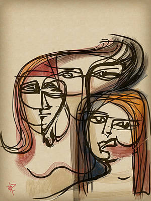 Red Head Mixed Media - 3 Women by Russell Pierce